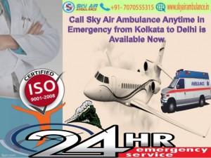Sky Air Ambulance Service from Kolkata Airport to Chennai and Delhi